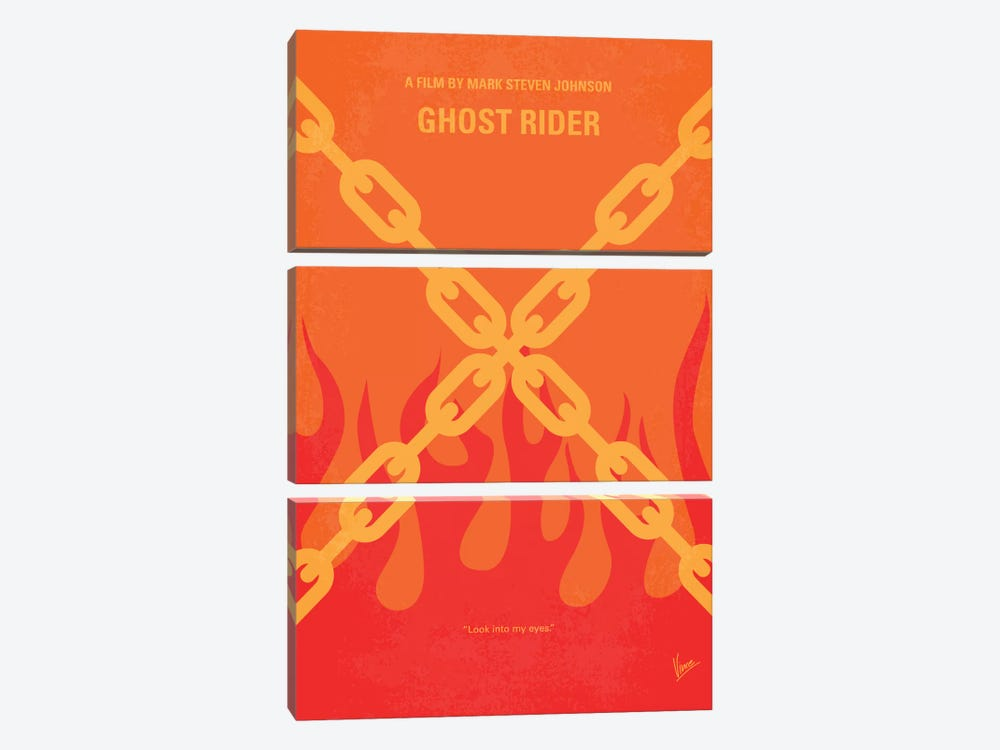 Ghost Rider Minimal Movie Poster by Chungkong 3-piece Canvas Art Print