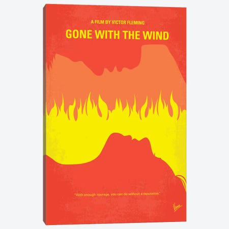 Gone With The Wind Minimal Movie Poster 3-Piece Canvas #CKG309} by Chungkong Canvas Wall Art