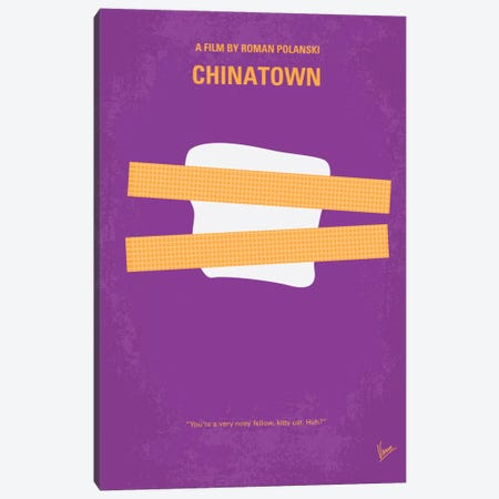 Chinatown Minimal Movie Poster Canvas Print #CKG30} by Chungkong Canvas Artwork