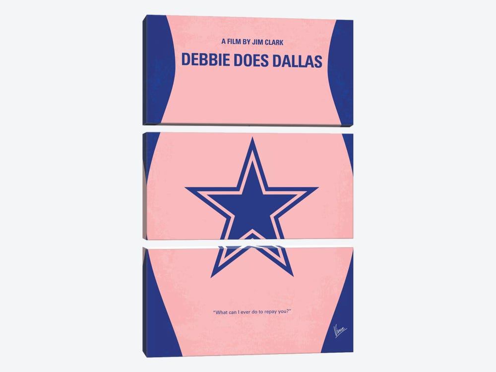 Debbie Does Dallas Minimal Movie Poster by Chungkong 3-piece Canvas Wall Art