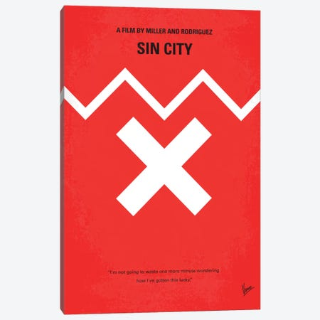 Sin City Minimal Movie Poster Canvas Print #CKG314} by Chungkong Canvas Art