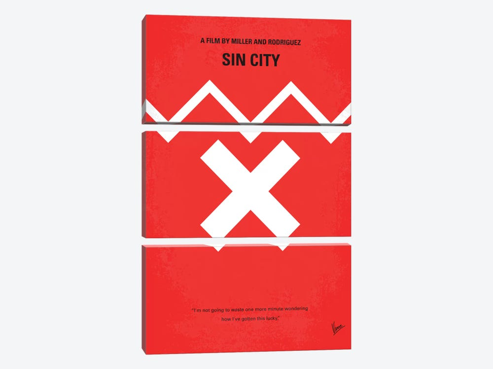 Sin City Minimal Movie Poster by Chungkong 3-piece Canvas Wall Art