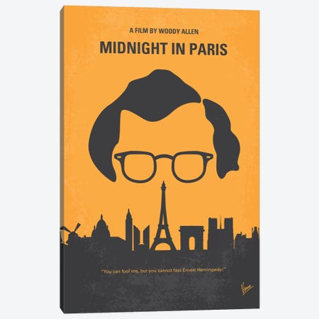 Midnight In Paris Minimal Movie Poster Canvas Print #CKG322} by Chungkong Canvas Wall Art