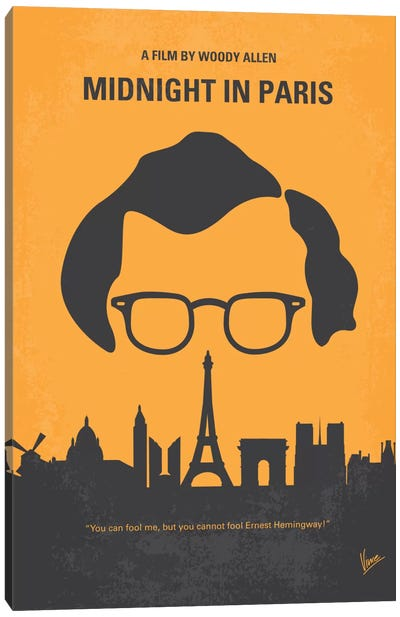 Midnight In Paris Minimal Movie Poster Canvas Art Print