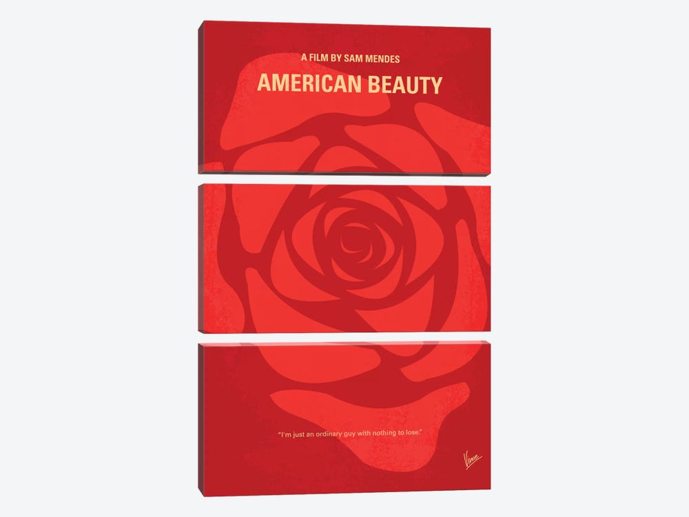 American Beauty Minimal Movie Poster by Chungkong 3-piece Canvas Art