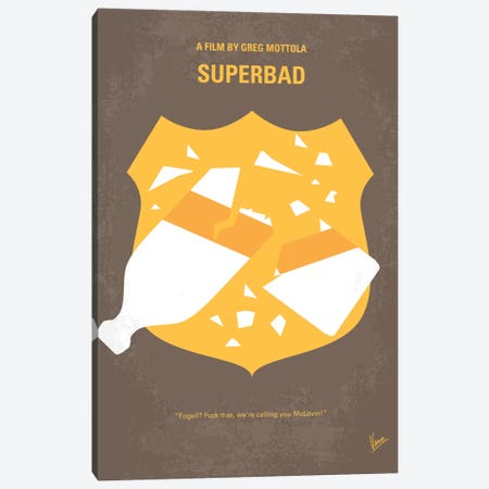 Superbad Minimal Movie Poster Canvas Print #CKG325} by Chungkong Art Print