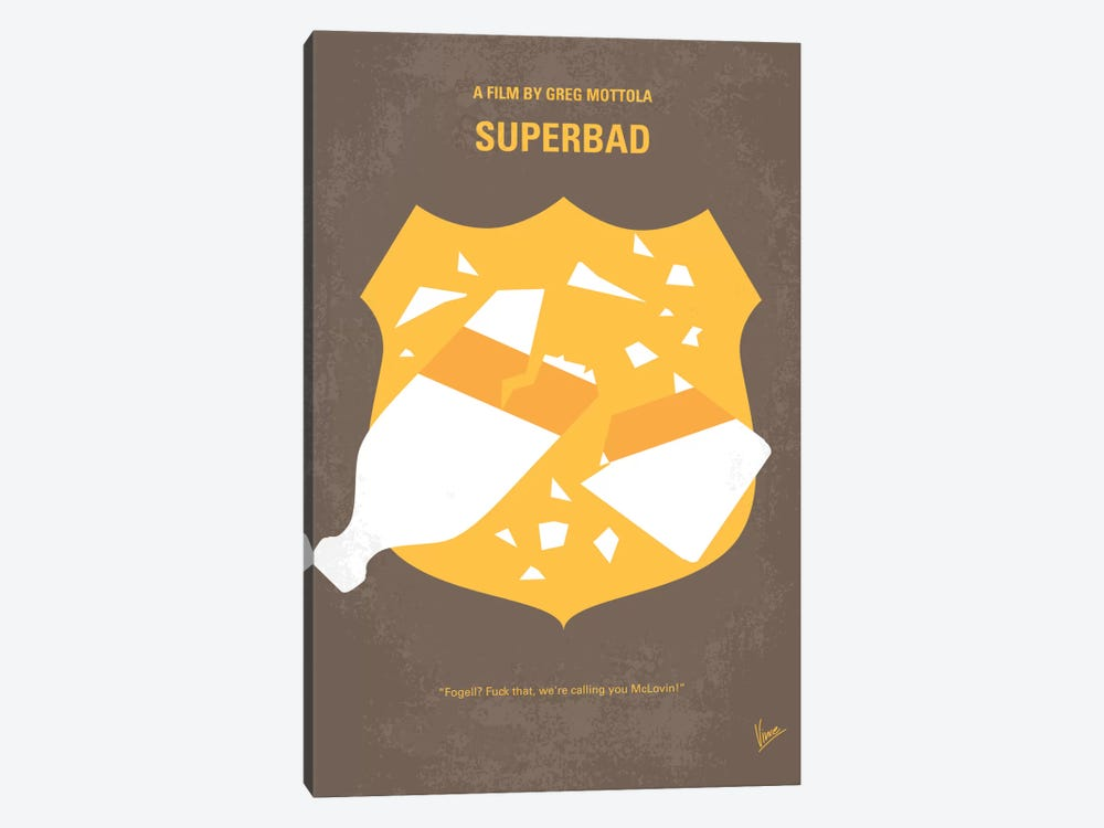 Superbad Minimal Movie Poster by Chungkong 1-piece Canvas Artwork