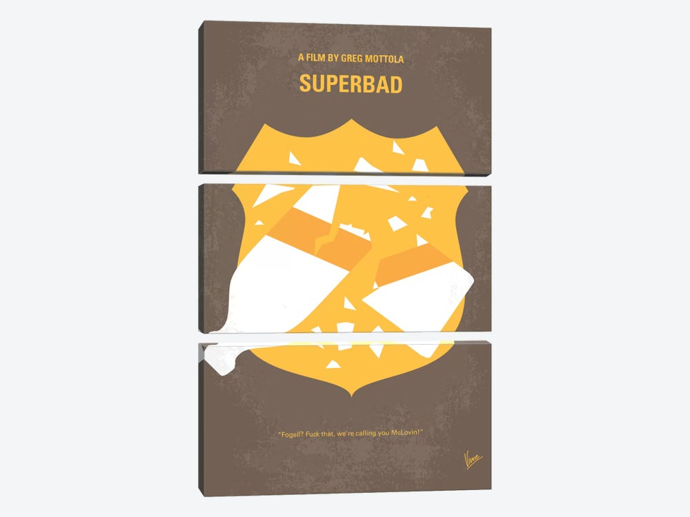 Superbad Minimal Movie Poster by Chungkong 3-piece Canvas Art