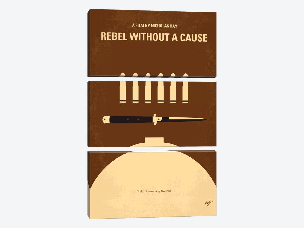 Rebel Without A Cause Minimal Movie Poster by Chungkong 3-piece Canvas Art Print