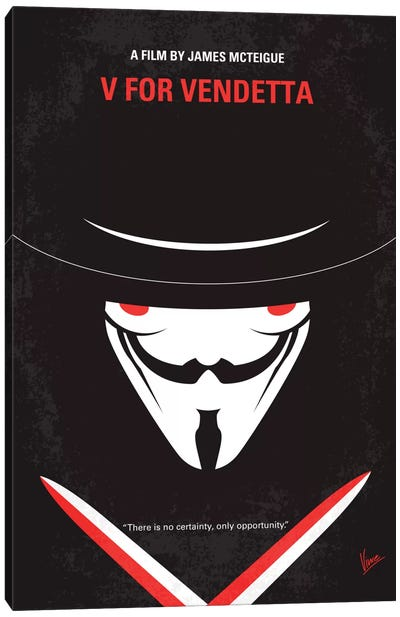 V For Vendetta Minimal Movie Poster Canvas Art Print