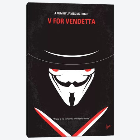V For Vendetta Minimal Movie Poster 3-Piece Canvas #CKG329} by Chungkong Canvas Artwork