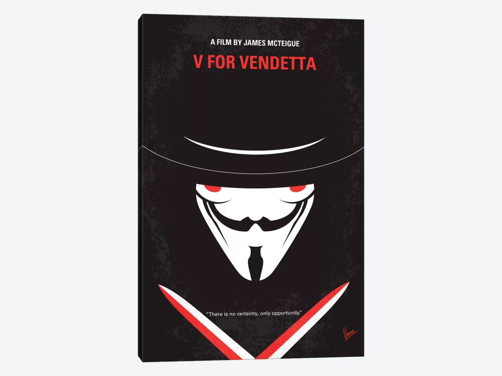 V For Vendetta Minimal Movie Poster by Chungkong 1-piece Canvas Wall Art
