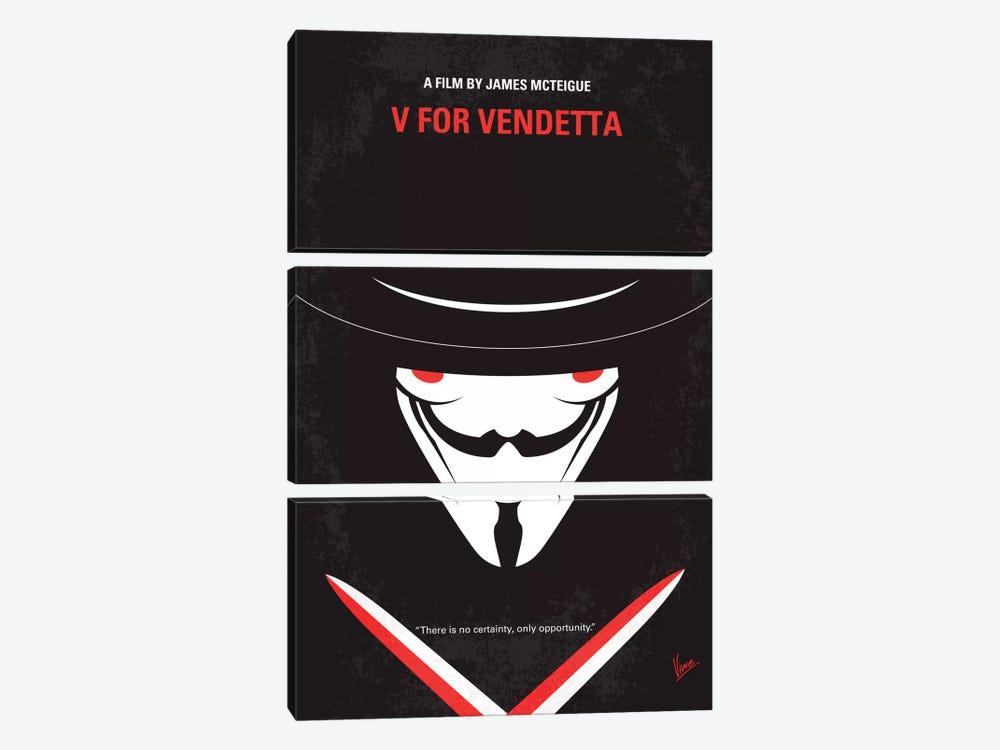 V For Vendetta Minimal Movie Poster by Chungkong 3-piece Canvas Artwork
