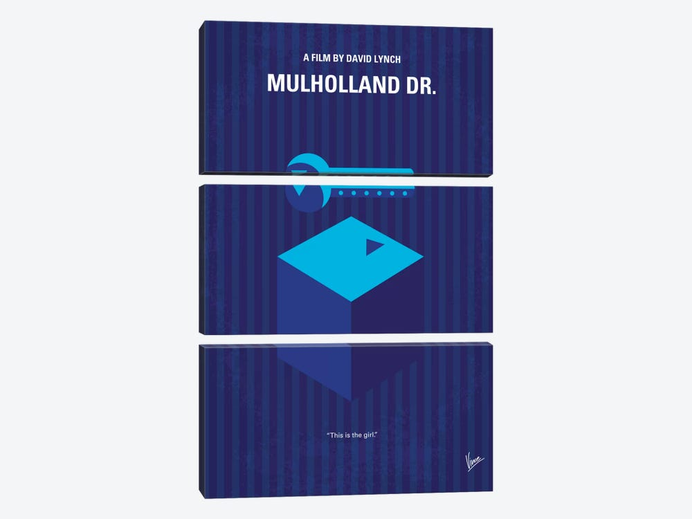 Mulholland Drive Minimal Movie Poster by Chungkong 3-piece Canvas Wall Art