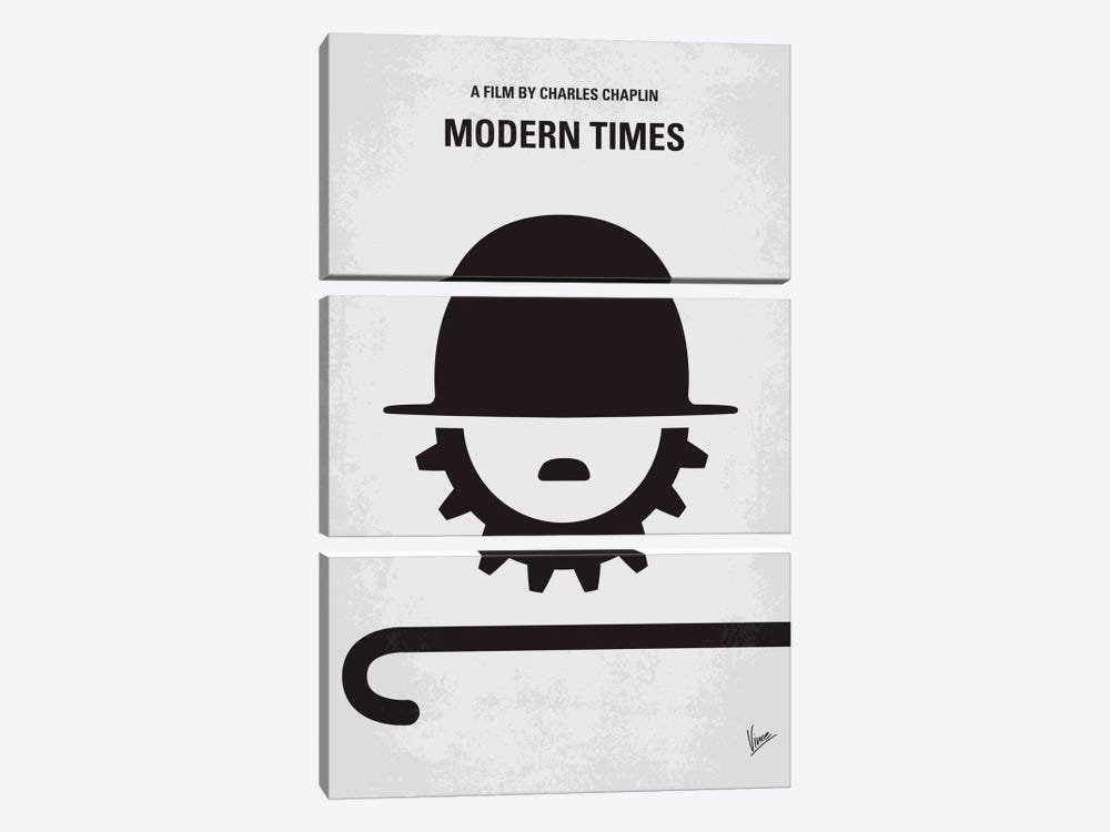 Modern Times Minimal Movie Poster by Chungkong 3-piece Canvas Wall Art