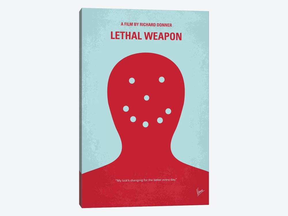 Lethal Weapon Minimal Movie Poster by Chungkong 1-piece Canvas Wall Art