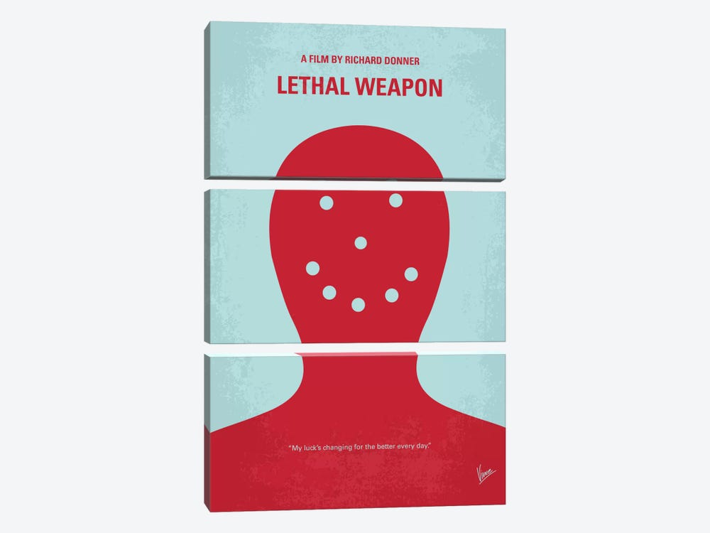 Lethal Weapon Minimal Movie Poster by Chungkong 3-piece Canvas Art