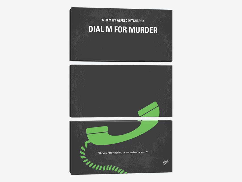 Dial M For Murder Minimal Movie Poster by Chungkong 3-piece Canvas Print