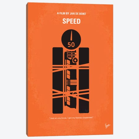 Speed Minimal Movie Poster Canvas Print #CKG338} by Chungkong Art Print