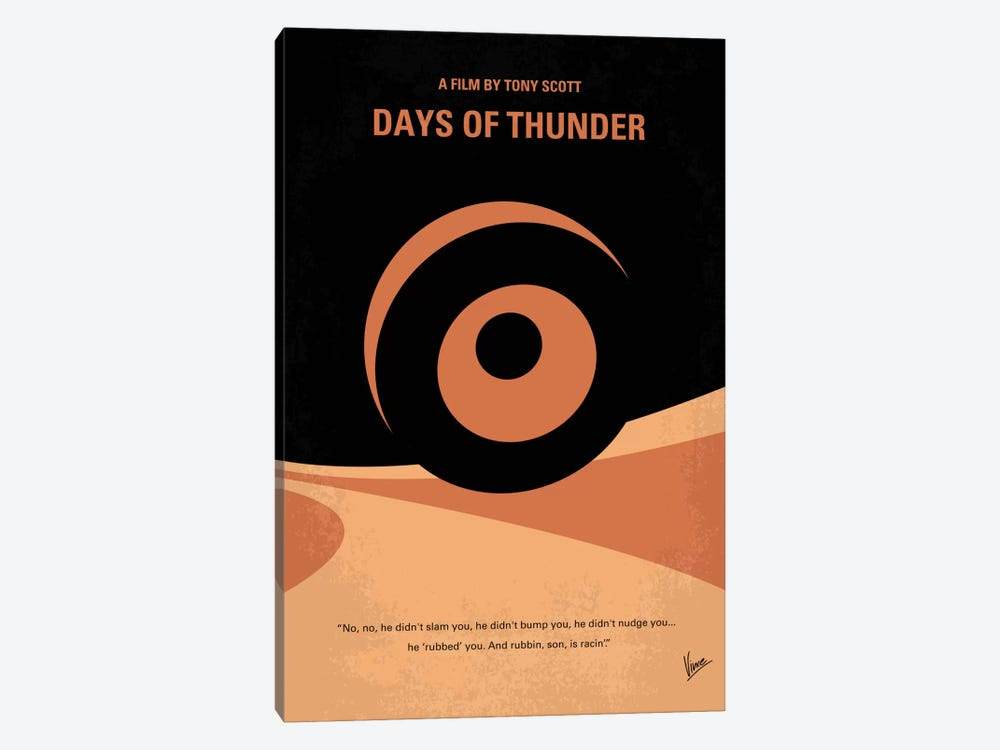 Days Of Thunder Minimal Movie Poster by Chungkong 1-piece Canvas Art Print