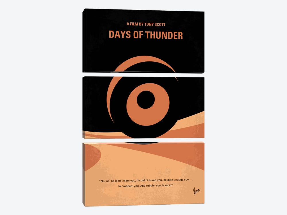 Days Of Thunder Minimal Movie Poster by Chungkong 3-piece Canvas Print