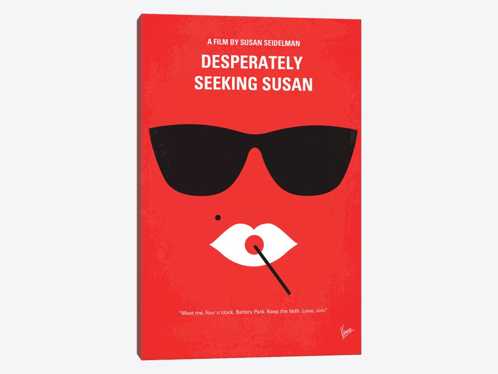 Desperately Seeking Susan Minimal Movie Poster by Chungkong 1-piece Canvas Print