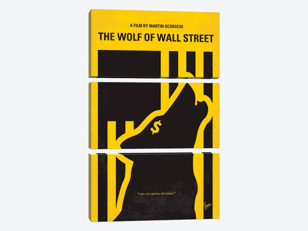 The Wolf Of Wall Street Minimal Movie Poster by Chungkong 3-piece Canvas Print