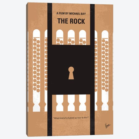 The Rock Minimal Movie Poster 3-Piece Canvas #CKG347} by Chungkong Canvas Art Print
