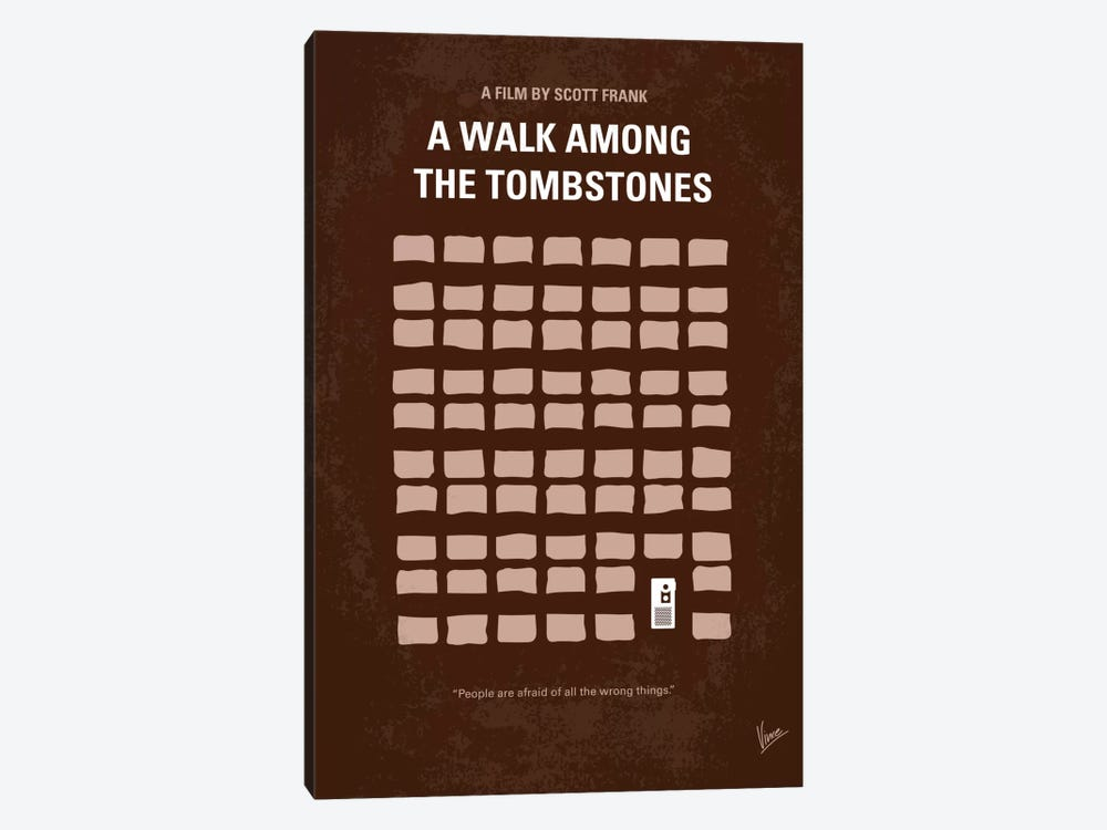 A Walk Among The Tombstones Minimal Movie Poster by Chungkong 1-piece Canvas Wall Art