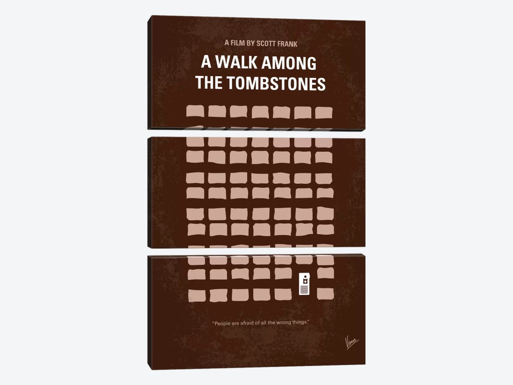 A Walk Among The Tombstones Minimal Movie Poster by Chungkong 3-piece Canvas Wall Art