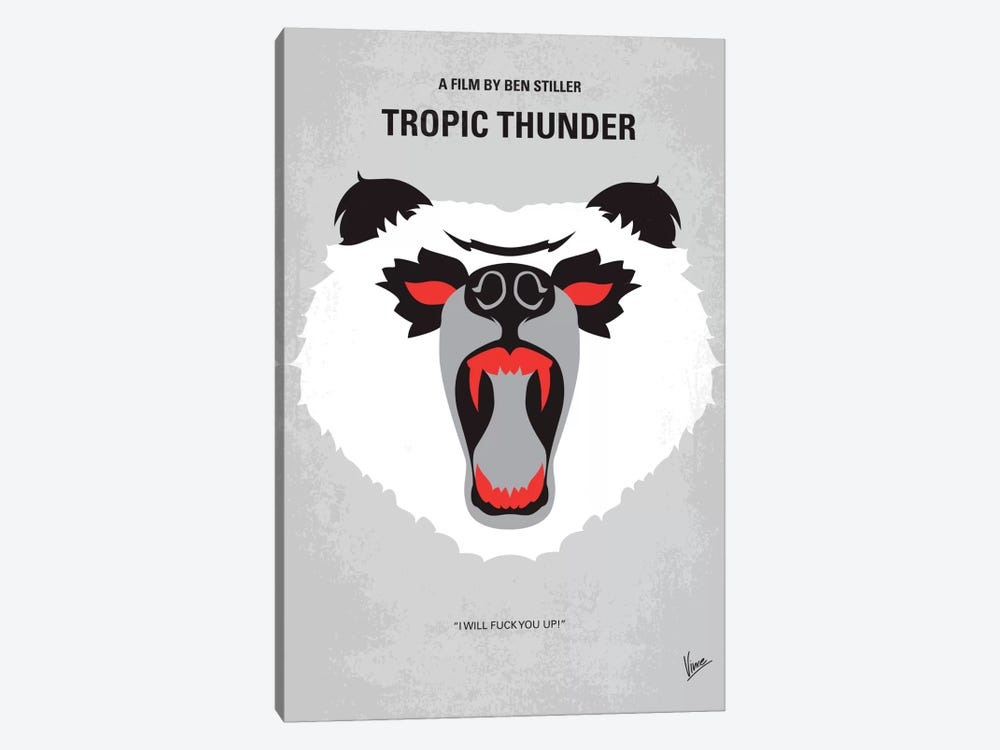 Tropic Thunder Minimal Movie Poster by Chungkong 1-piece Canvas Wall Art