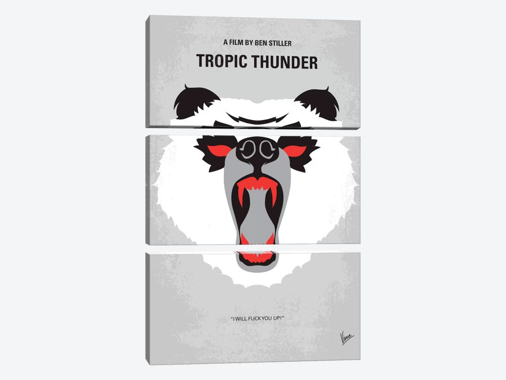 Tropic Thunder Minimal Movie Poster by Chungkong 3-piece Canvas Wall Art