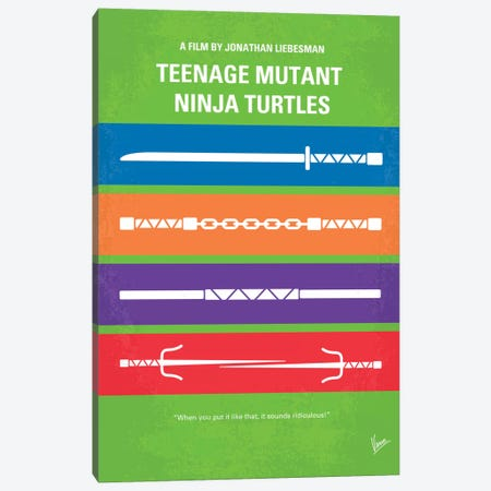 Teenage Mutant Ninja Turtles Minimal Movie Poster Canvas Print #CKG354} by Chungkong Canvas Wall Art