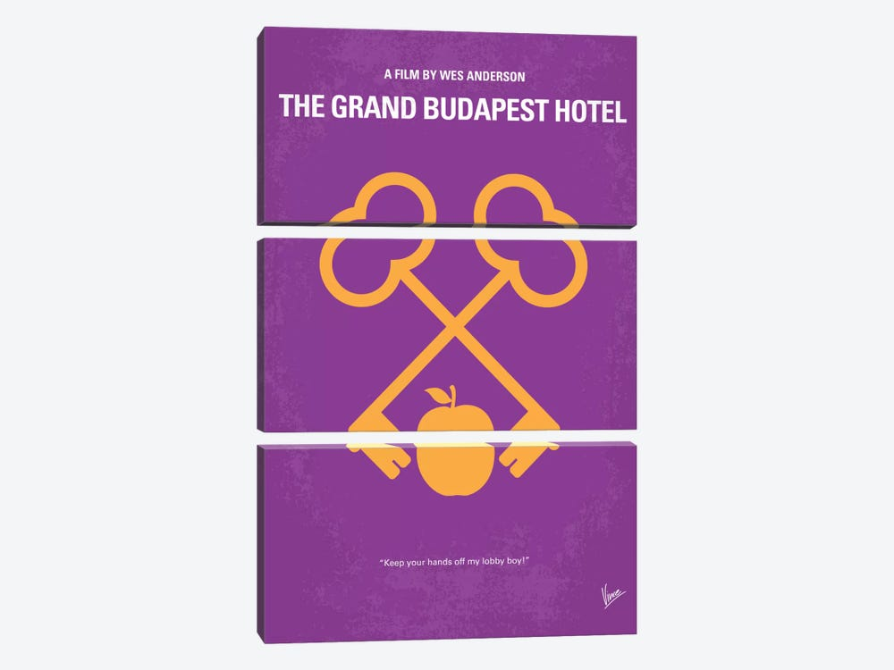 The Grand Budapest Hotel Minimal Movie Poster by Chungkong 3-piece Canvas Art Print