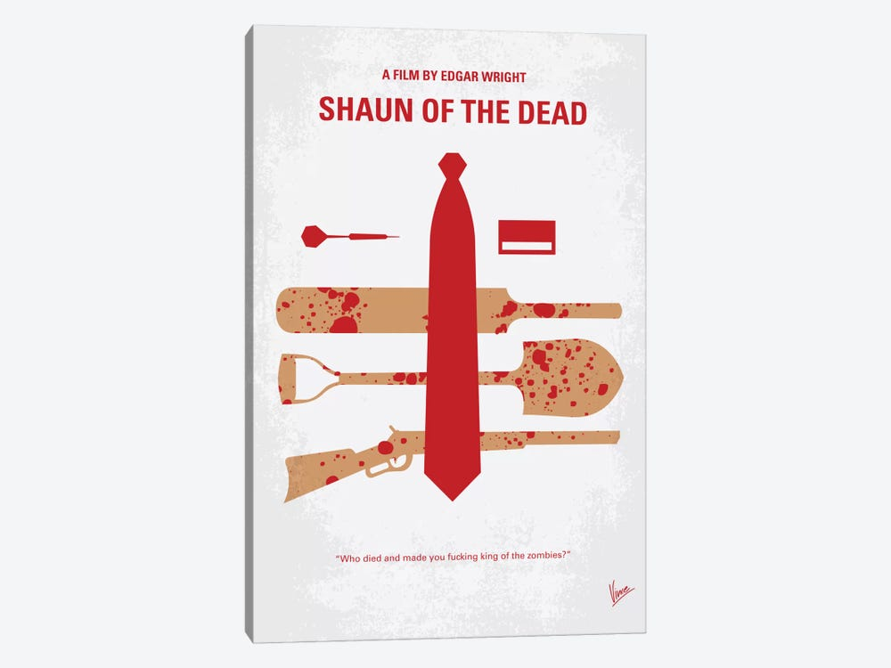 Shaun Of The Dead Minimal Movie Poster by Chungkong 1-piece Canvas Art Print