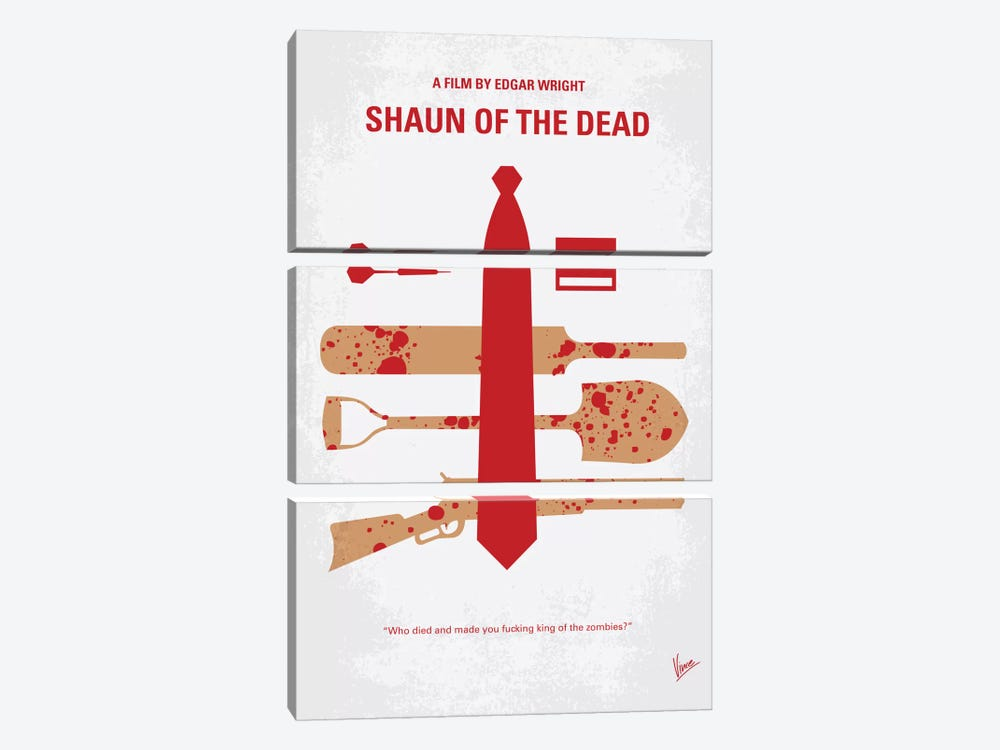 Shaun Of The Dead Minimal Movie Poster by Chungkong 3-piece Art Print