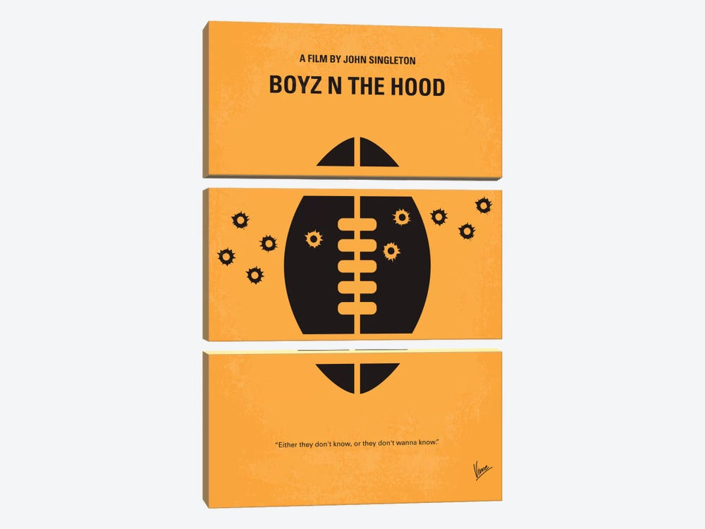 Boyz N' The Hood Minimal Movie Poster by Chungkong 3-piece Canvas Art Print