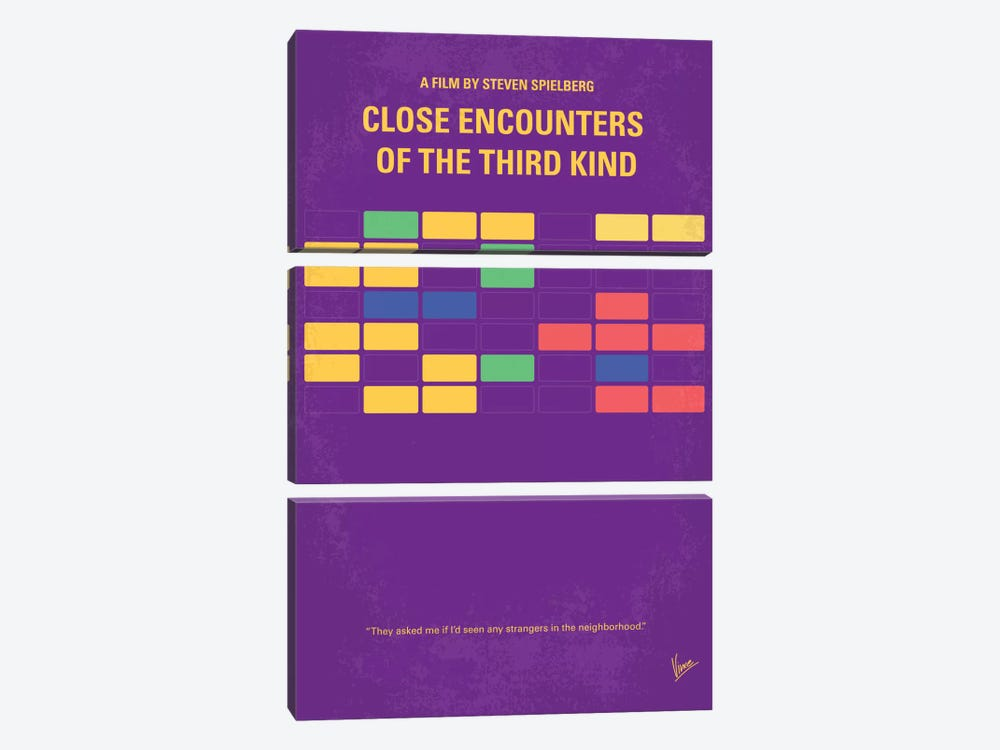 Encounters Of The Third Kind Minimal Movie Poster by Chungkong 3-piece Canvas Artwork