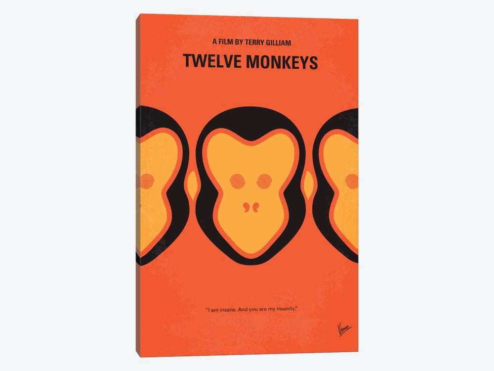 12 Monkeys Minimal Movie Poster 1-piece Canvas Wall Art