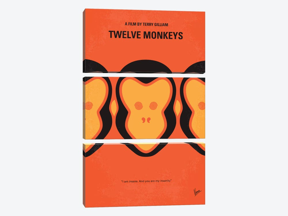 12 Monkeys Minimal Movie Poster by Chungkong 3-piece Canvas Art