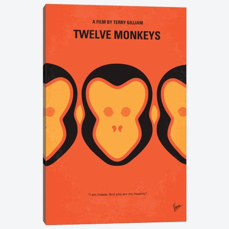 12 Monkeys Minimal Movie Poster Canvas Print #CKG363} by Chungkong Canvas Wall Art