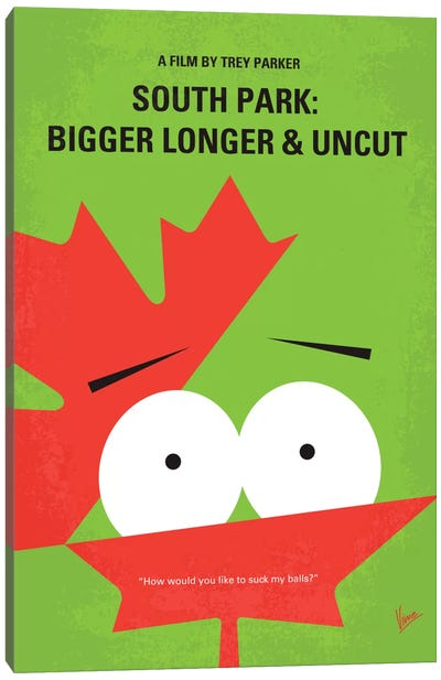 South Park: Bigger, Longer, & Uncut Minimal Movie Poster Canvas Art Print