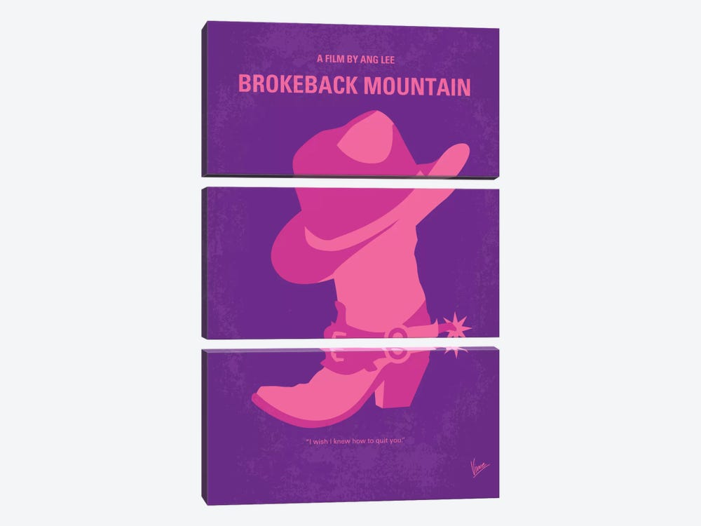 Brokeback Mountain Minimal Movie Poster by Chungkong 3-piece Canvas Print