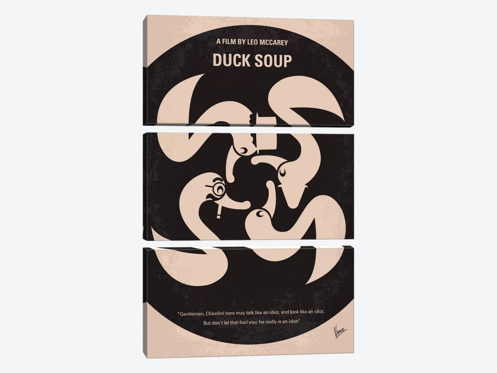 Duck Soup Minimal Movie Poster by Chungkong 3-piece Canvas Wall Art