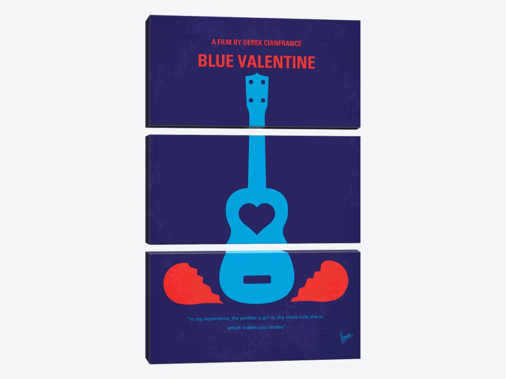 Blue Valentine Minimal Movie Poster by Chungkong 3-piece Canvas Art
