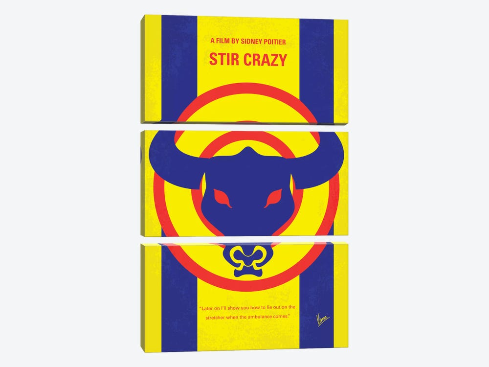 Stir Crazy Minimal Movie Poster by Chungkong 3-piece Canvas Wall Art