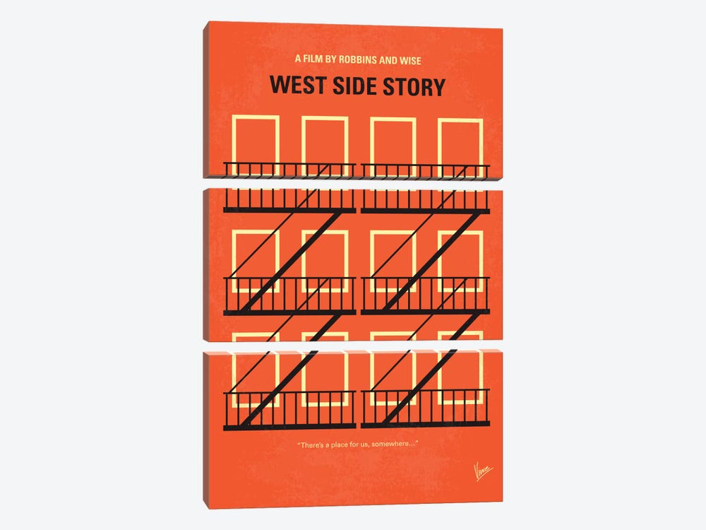 West Side Story Minimal Movie Poster by Chungkong 3-piece Canvas Art Print