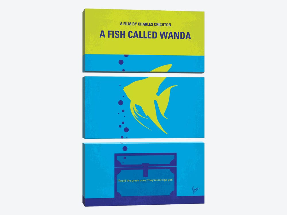 A Fish Called Wanda Minimal Movie Poster 3-piece Canvas Art Print