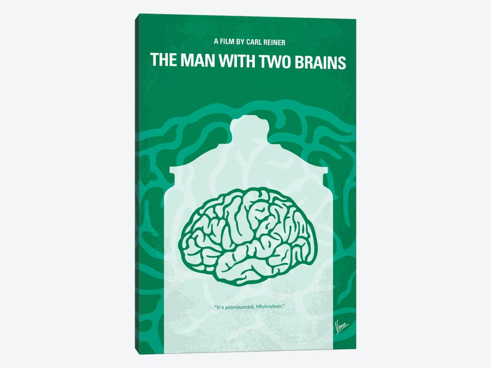 The Man With Two Brains Minimal Movie Poster by Chungkong 1-piece Canvas Art