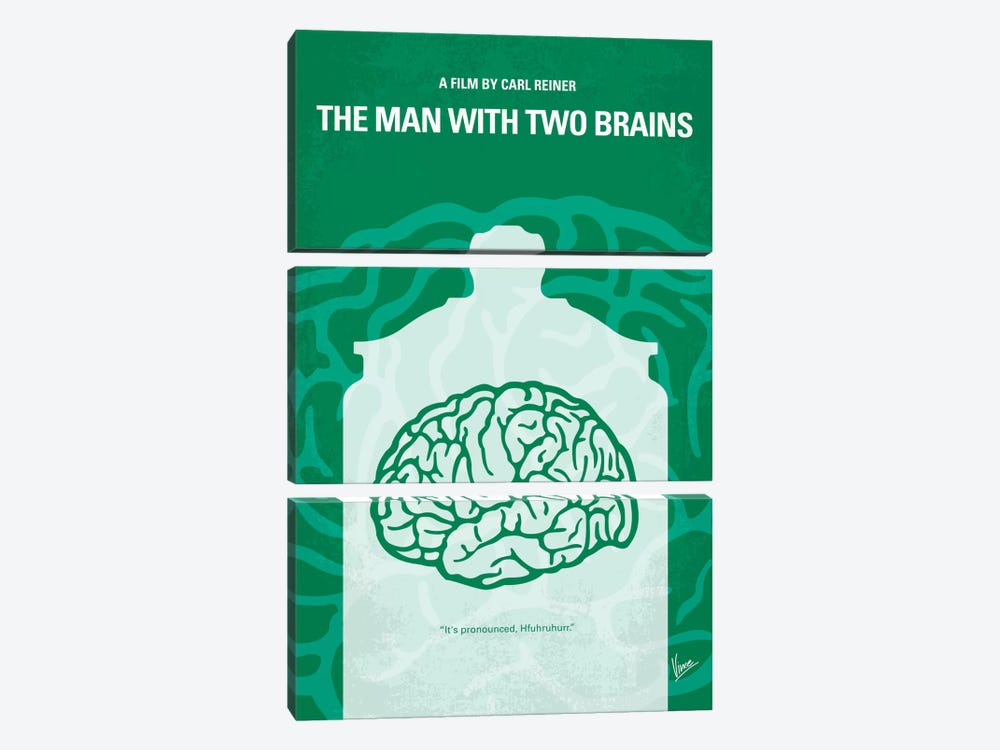The Man With Two Brains Minimal Movie Poster by Chungkong 3-piece Canvas Wall Art